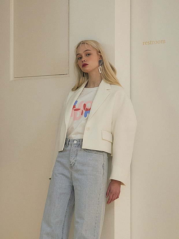 20SS 1ST VOLUME SLEEVE CROPPED JACKET WHITE