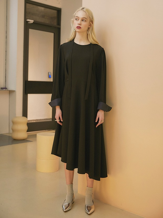 20SS 1ST UNBALANCE FLARE DRESS BLACK